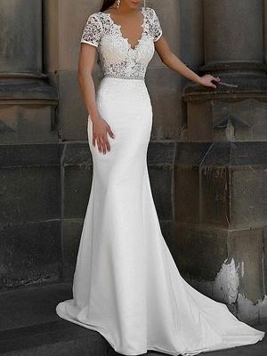 Cheap Wedding Dress Mermaid Lace V Neck Short Sleeves Beaded Sash Bridal Dresses With Train_1