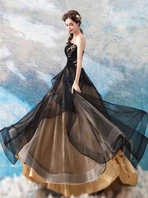 Gothic Wedding Dresses Princess Silhouette Sleeveless Pleated Tulle Sweep Bridal Dress_4