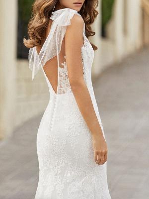 Wedding Dress With Train Mermaid Dress Sleeveless Lace V Neck Long Bridal Gowns_3