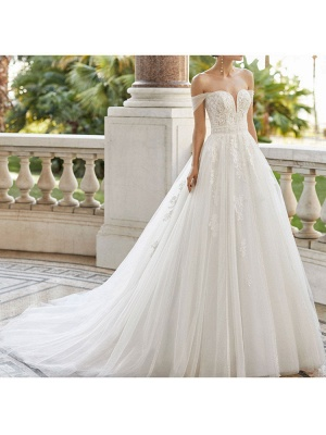 Wedding Dresses With Train V Neck Sleeveless Off Shoulder Lace Tulle Bridal Gowns_4