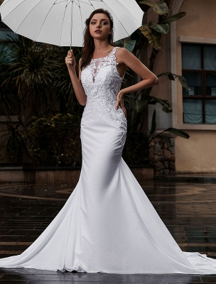 Customize Wedding Gowns With Train Sleeveless Beaded Square Neck Bridal Gowns_1