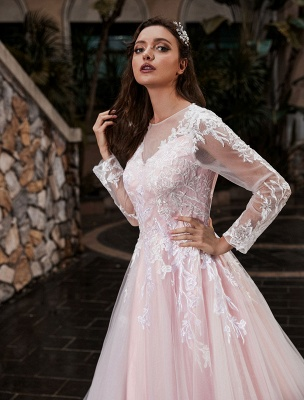 Customize Wedding Gowns With Train A-Line Long Sleeves Satin Fabric Jewel Neck Bridal Gowns_4