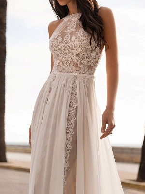 Ivory Wedding Dresses A Line With Court Train Sleeveless Applique Illusion Neckline Bridal Gowns_3