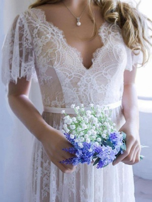 Cheap Wedding Dress 2021 V Neck A Line Short Sleeve Deep V Backless Lace Wedding Gowns_2