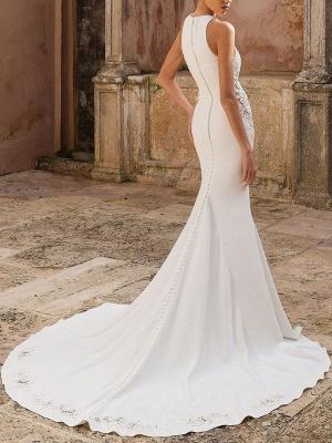 Vintage Wedding Dress Lycra Spandex Jewel Neck Sleeveless Lace Mermaid Bridal Gowns_2