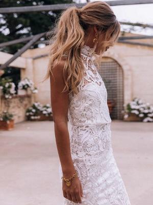 Boho Wedding Gowns 2021 Sheath High Neck Sleeveless Floor Length Bridal Gown_4