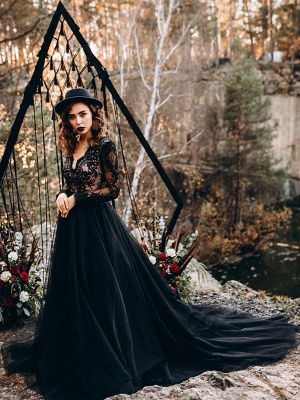 Black Bridal Dresses A-Line Designed Neckline Long Sleeves Natural Waistline Tulle Lace Sweep Bridal Gown_3