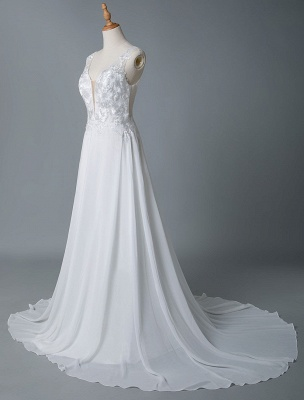 Cheap Wedding Dress A Line V Neck Sleeveless Lace Illusion Back Wedding Gowns_6