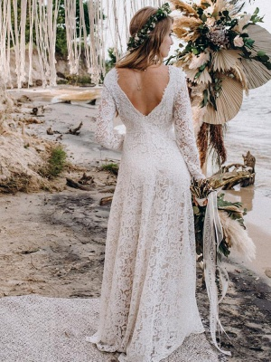 Wedding Gowns With Train V-Neck Long Sleeves Floor-Length Ivory Lace Wedding Gowns_2