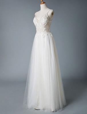 Wedding Gowns A Line V Neck Sleeveless Straps Beaded Floor Length Polka Dot Tulle Bridal Gowns_5