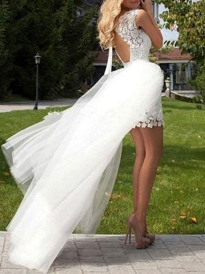 Short Wedding Dress 2021 Lace Jewel Neck Sleeveless Wedding Gowns With Panel Train_3