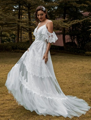 Boho Wedding Gowns Lace A-Line V-Neck Natural Waistline Beaded Wedding Gown_2