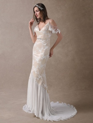Boho Bridal Dresses Champagne Lace Beach Bridal Dress Mermaid V Neck Backless Beaded Summer Wedding Gowns Exclusive_4