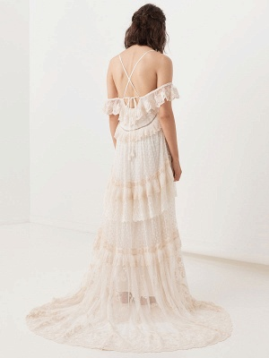 Boho Wedding Dresses Suit 2021 V Neck Floor Length Lace Multilayer Bridal Gown Dress And Outfit_8
