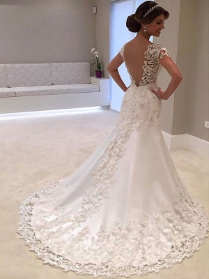Bridal Dresses 2021 V Neck Short Sleeve Sheath Deep V Backless Lace Beaded Wedding Gowns With Train_1