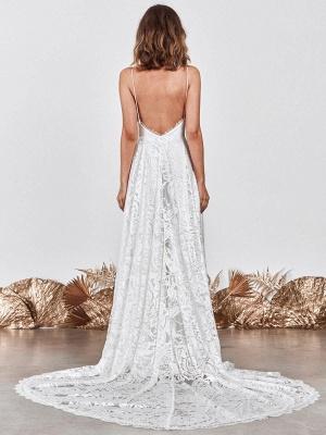 Wedding Dress Ivory V-Neck Backless Sleevelesslace Wedding Gowns With Train_3