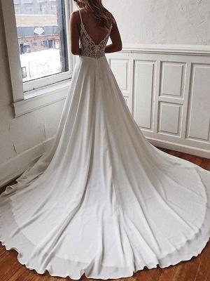 Simple Wedding Dress A Line V Neck Sleeveless Straps Back Lace Boho Bridal Dresses With Train_1