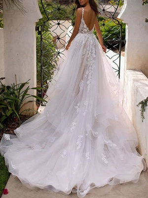 Wedding Dresses A Line V Neck Sleeveless Lace Appliqued Bridal Gowns With Train_2