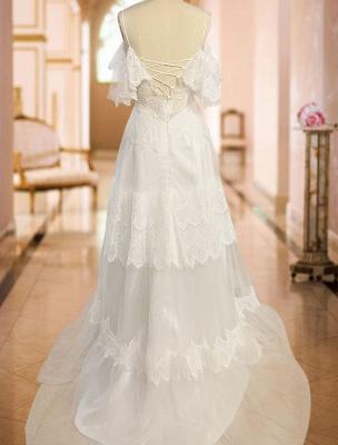 Boho Wedding Dresses 2021 A Line Deep V Neck Straps Lace Short Sleeve Bridal Gown For Beach Wedding With Sweep Train_5