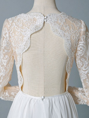 Boho Bridal Dresses 2021 Jewel Neck Long Sleeve A Line Floor Length Chffion Bridal Dress For Beach Wedding_9