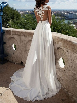 Boho Wedding Dresses 2021 A Line V Neck Sleeveless Split Lace Appliqued Beach Bridal Gowns With Sweep Train_4