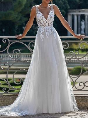 Vintage Wedding Dress 2021 A Line V Neck Straps Sleeveless Lace Appliqued Tulle Bridal Gown_1