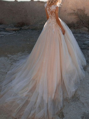 Wedding Dresses 2021 Princess Silhouette Jewel Neck Sleeveless Natural Waist Lace Soft Pink Tulle Bridal Gowns_2