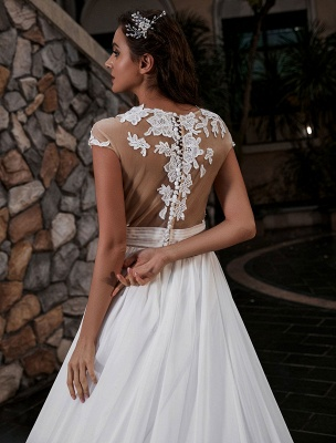 Wedding Gowns Beach A-Line Silhouette Jewel Neck Lace Bodice Chiffon Wedding Gown_5