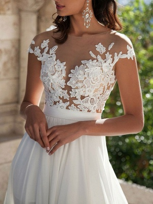 Boho Wedding Dresses 2021 A Line V Neck Sleeveless Split Lace Appliqued Beach Bridal Gowns With Sweep Train_2