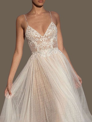 Wedding Gowns A Line V Neck Sleeveless Straps Beaded Floor Length Polka Dot Tulle Bridal Gowns_2