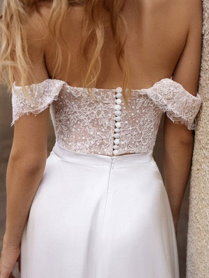 White Cheap Wedding Dresses Satin Fabric Strapless Sleeveless Cut Out A-Line Off The Shoulder Long Bridal Gowns_8