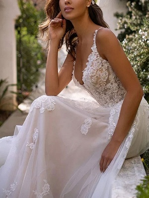 Wedding Dresses A Line V Neck Sleeveless Lace Appliqued Bridal Gowns With Train_3