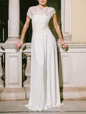 Simple Wedding Gowns Sheath V Neck Sleeveless Pleated Floor Length With Train Lace Wedding Dresseses_3