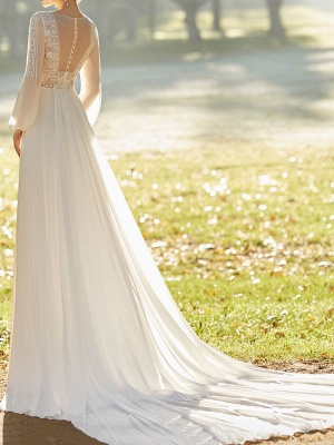 Ivory Wedding Dresses With Court Train A Line Long Sleeves Lace V Neck Bridal Gowns_2