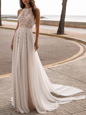 Ivory Wedding Dresses A Line With Court Train Sleeveless Applique Illusion Neckline Bridal Gowns_1