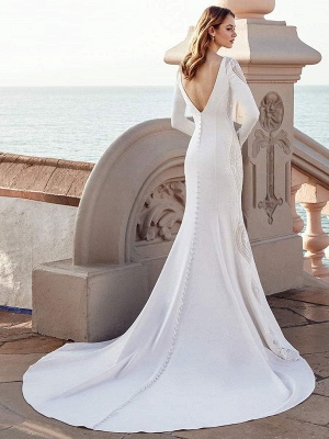 Wedding Gowns Mermaid Dress Bateau Neck Long Sleeves Natural Waist With Train Bridal Gowns_2