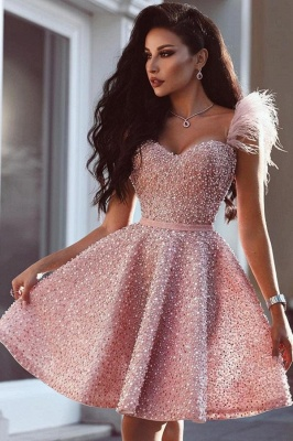 Luxury Homecoming Dresses Feather Short Hoco Dresses