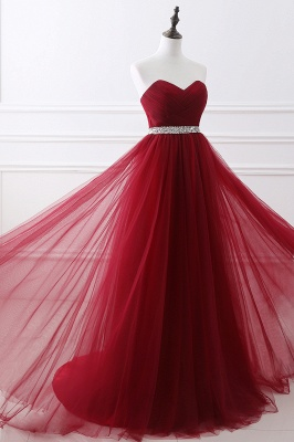 Women's Strapless Soft Tulle Dark Red Prom Dress_11