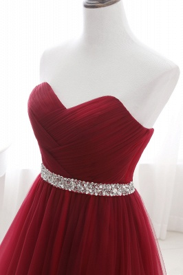 Women's Strapless Soft Tulle Dark Red Prom Dress_13
