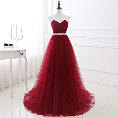 Women's Strapless Soft Tulle Dark Red Prom Dress_3