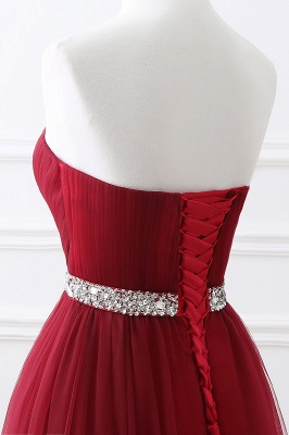Women's Strapless Soft Tulle Dark Red Prom Dress_14