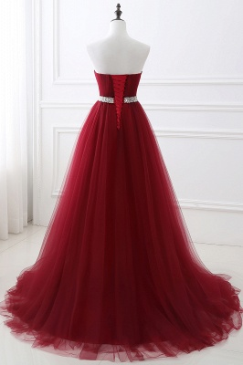 Women's Strapless Soft Tulle Dark Red Prom Dress_10