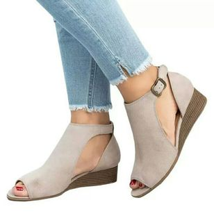 Women's Buckle Wedge Heel Sandals_2