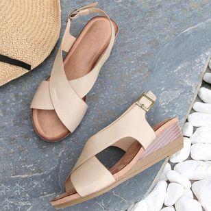 Women's Buckle Slingbacks Wedge Heel Sandals_1