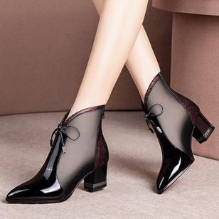 Women's Bowknot Zipper Pointed Toe Heels Fabric Chunky Heel Sandals_2