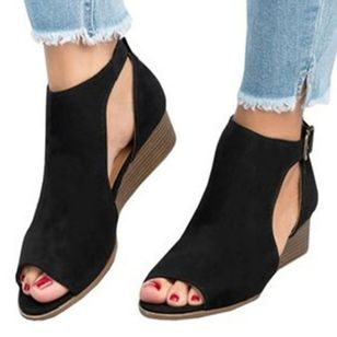 Women's Buckle Wedge Heel Sandals_1