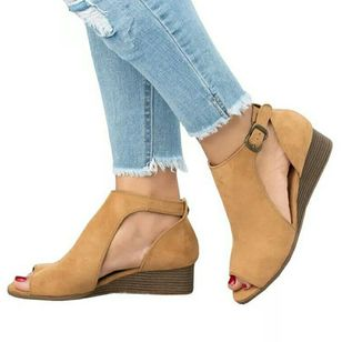 Women's Buckle Wedge Heel Sandals_3