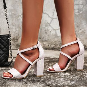 Women's Buckle Heels Chunky Heel Sandals_4
