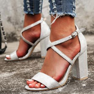 Women's Buckle Heels Chunky Heel Sandals_3