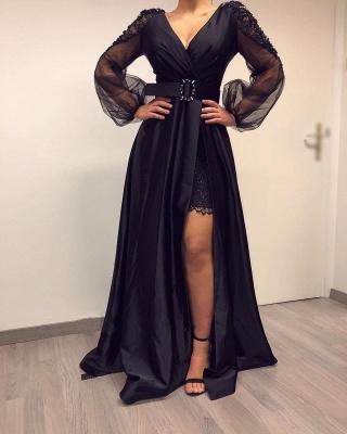 ZY017 Elegant Evening Dresses Long Black Prom Dresses With Sleeves_2